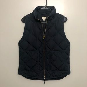 J crew down filled vest quilted navy blue small